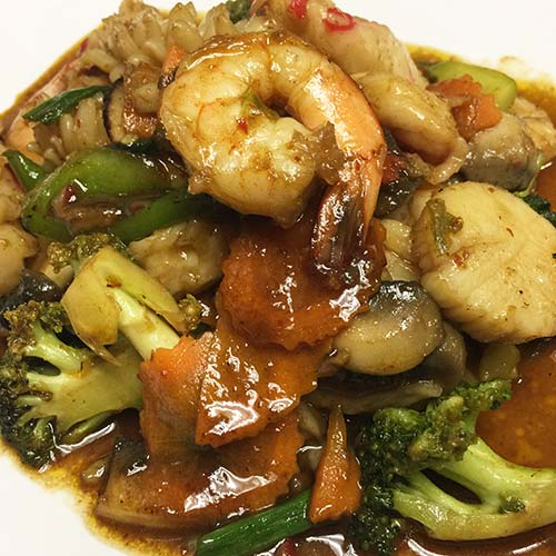 Stirfried Cashew Nut Sauce with Seafood